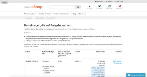 silver.eShop Kundencenter mit Freigabeprozessen