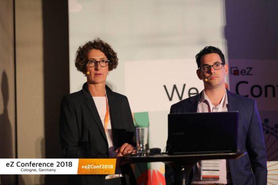 eZ Conference 2018: Ania Hentz, silver.solutions und Amit Gutin-Golan, eZ Systems präsentieren die neuen Möglichkeiten von eZ Commerce