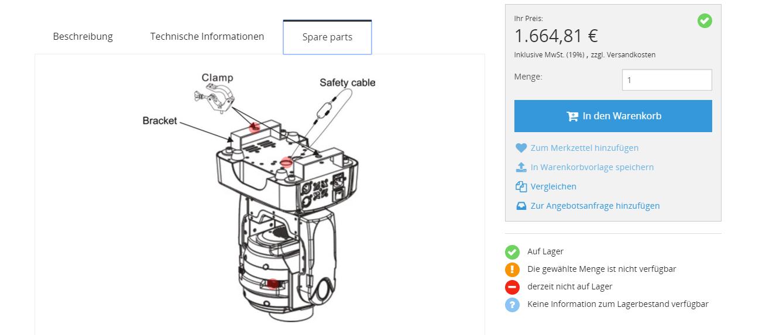 Interaktive Explosionszeichnung im silver.eShop