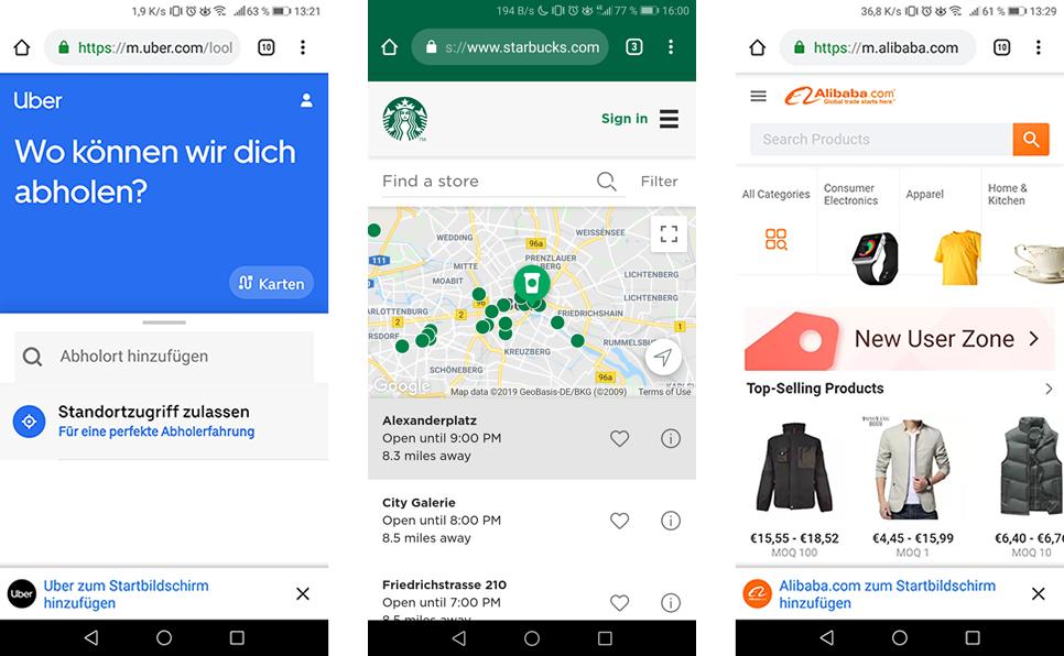Progressive Web Apps (PWA) Beispiele Uber, Starbucks, Alibaba