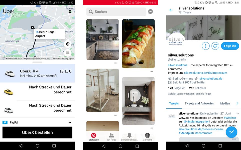Progressive Web Apps (PWA) Beispiele Uber, Pinterest, Twitter