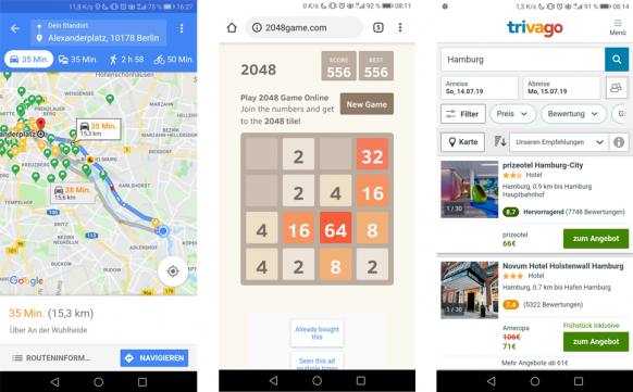 Progressive Web Apps (PWA) Beispiele Google Maps, 2048game, Trivago