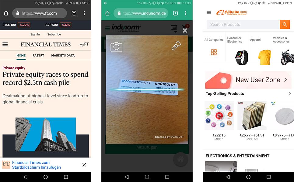 Progressive Web Apps (PWA) Beispiele Financial Times, Indunorm, Alibaba