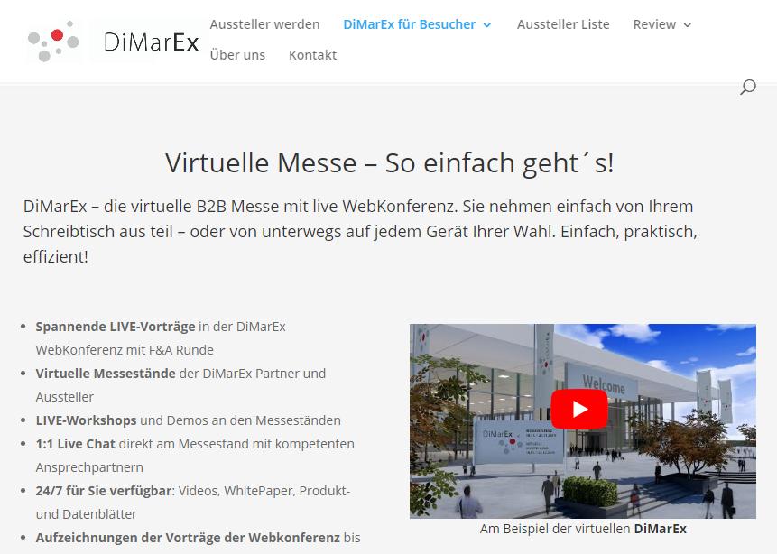 DiMarEx - Virtuelle Messe und Online-Konferenz mit B2B-Themen, Event-Digitalisierung